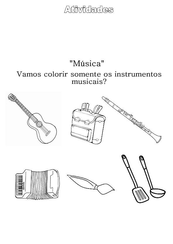 Desenhos Preto e Branco Instrumentos Musicais Colorir
