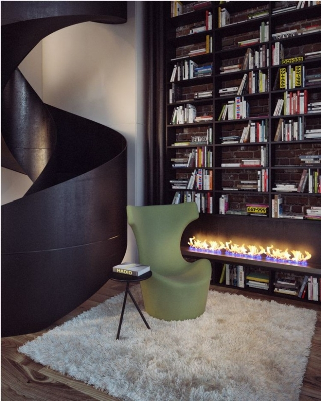 Reading corner by the stairs with fireplace