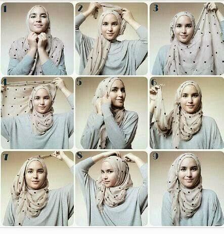 Cara memakai hijab pashmina sifon modern