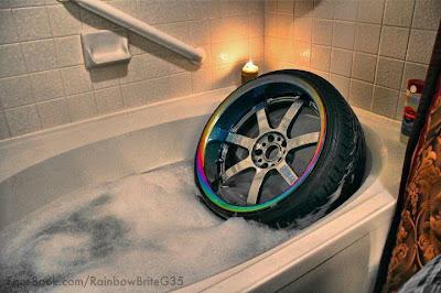 Roda esportiva, banheira,
