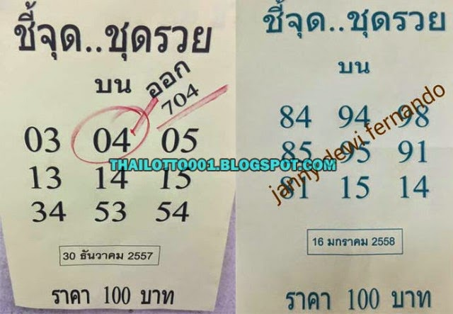 Thailand Lottery Exclusive Winning Pairs 16-01-2015 | THAI LOTTO 001 ...