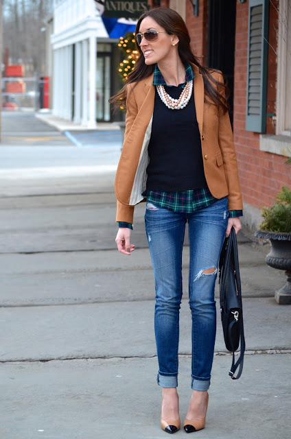 Fall fashion style with j crew schoolboy blazer