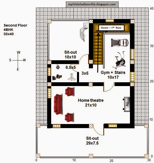 My little indian villa 35 r28 4bhk in 30x40 east facing for House plan for 30x40 site