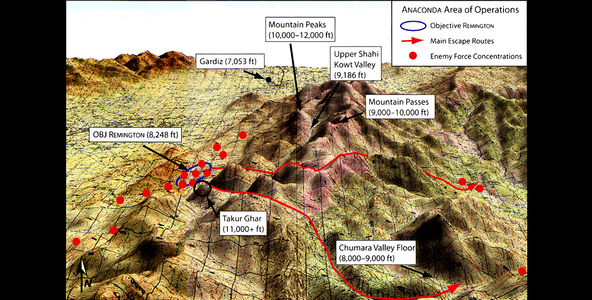A map of the area of Operation Anaconda showing the Shahikot Valley (outlined in blue) and the peak of Takur Ghar, which rises 3,191 meters (10,469 feet) out of the valley below. Credit: U.S. Army