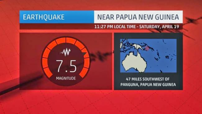 7.5-magnitude quake strikes off Papua New Guinea