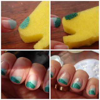 manicura degradada con esponja