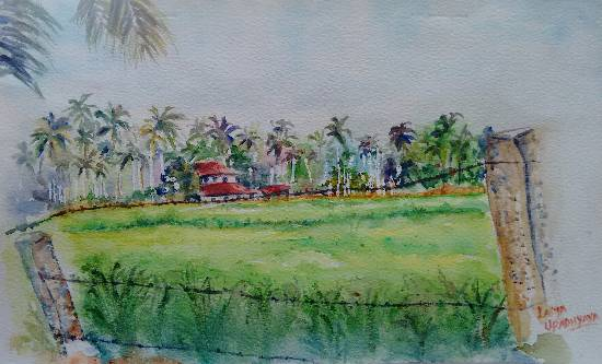Lush greens of Malnad, painting by Lasya Upadhyaya ( part of her portfolio on www.indiaart.com )