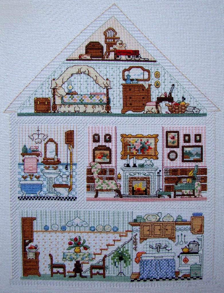 Cross stitch dollhouses doll house hutch for House pattern