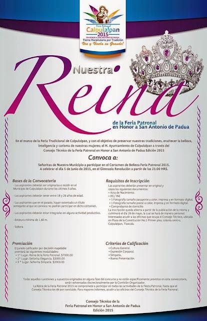 reina de la feria calpulalpan 2015 convocatoria