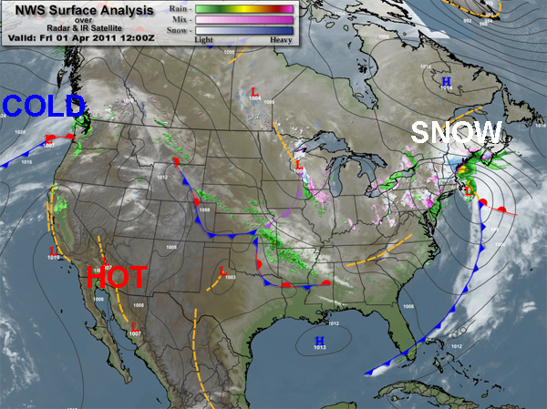 Weather Rap For The First Of Aprilno Foolin Mountain Weather - Rap of the map of the us