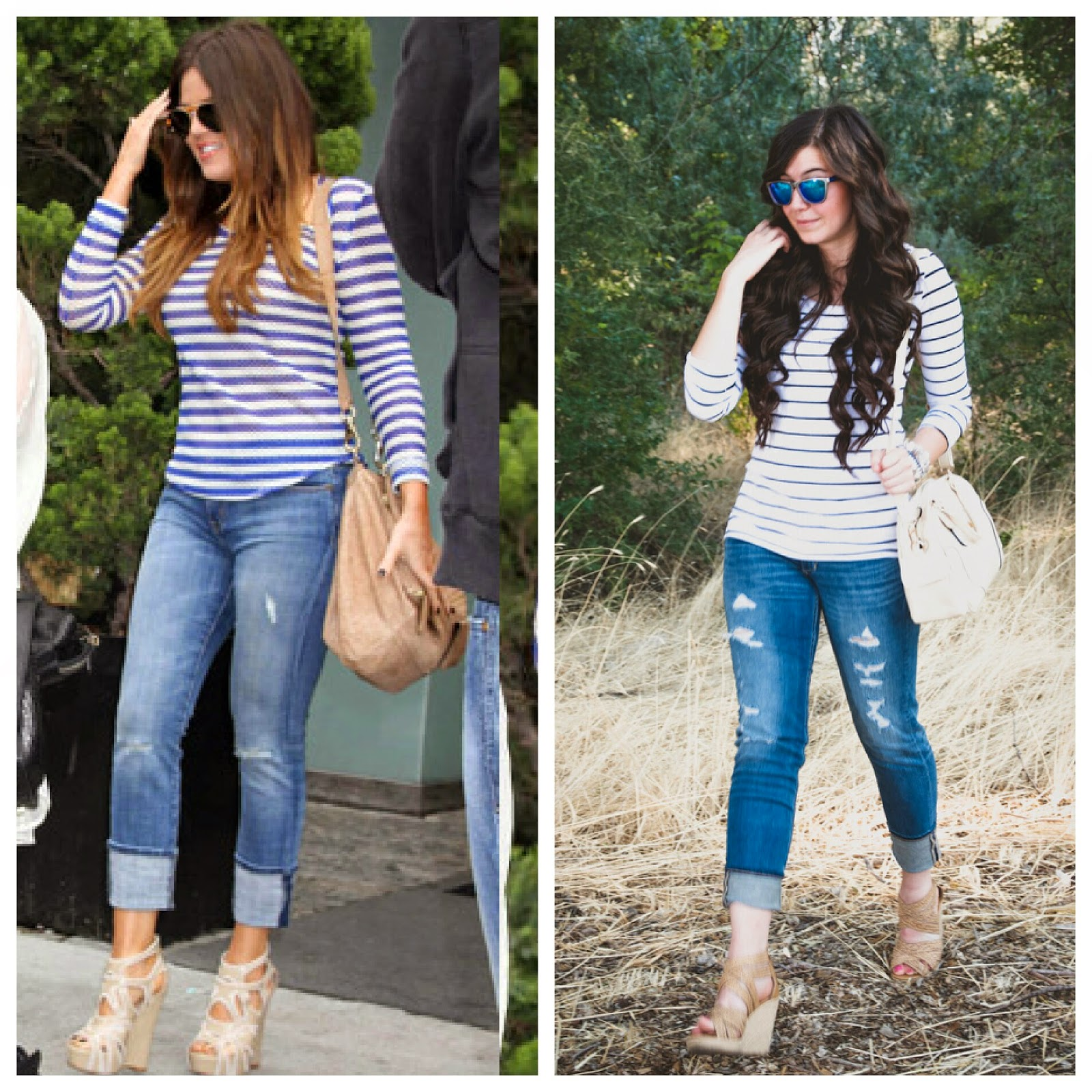 khloe kardashian, celebrity look, celebrity look for less, destroyed jeans, destroyed denim, casual look, casual attire, casual outfit, stripes and jeans, bag, cute, shades, dolce vita, jcpenneys, jcpenney,