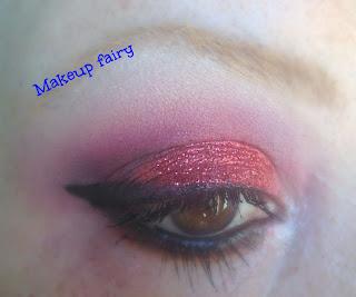 eye makeup look red smokey glittery