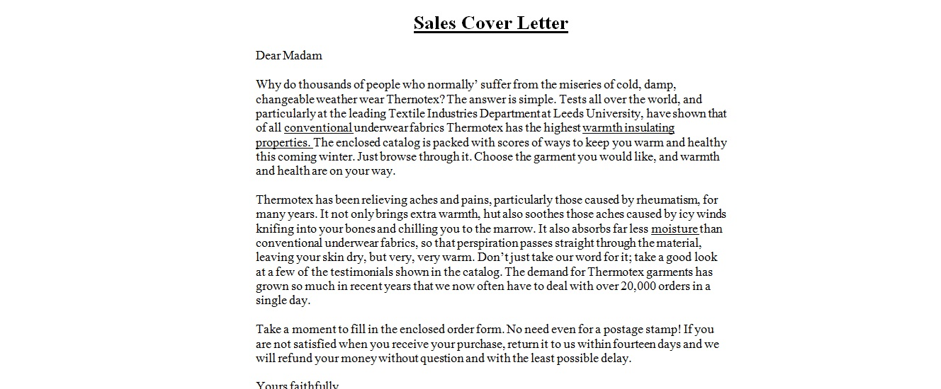 Business Letter Samples : Sales Cover Letter