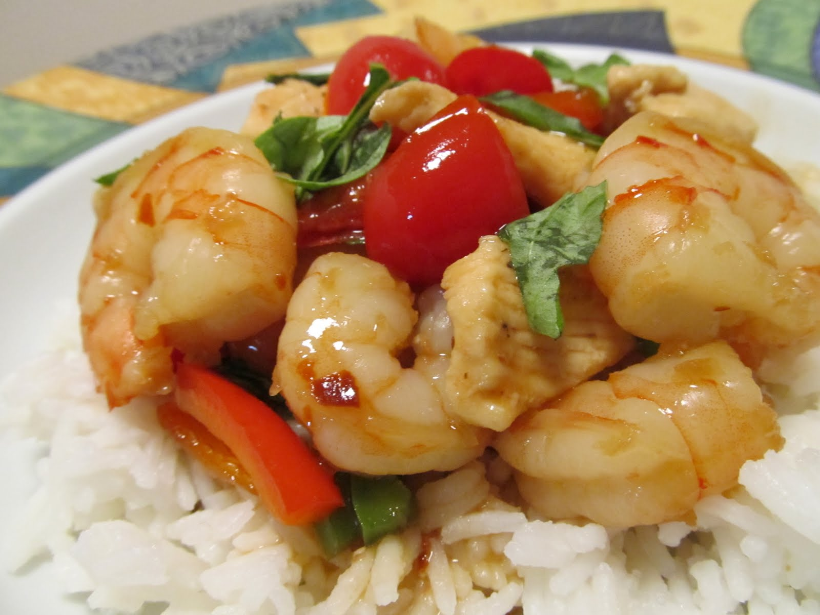 ... Food Journey: Thai Shrimp & Chicken Stir Fry with Tomatoes and Basil