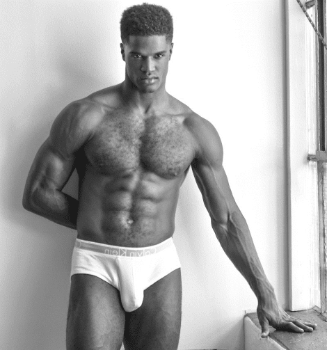 Model Minkah Davidson in his Underwear