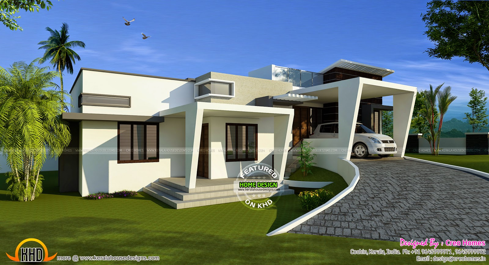 Contemporary hillside home kerala home design and floor for Hillside home designs plans