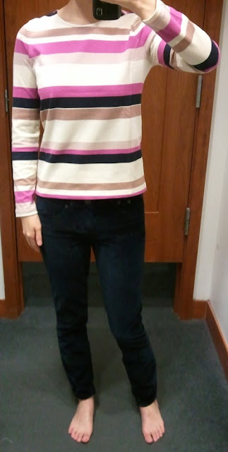 J.Crew Colorblock Top in Stripe in Fuchsia Stripe; Toothpick Jean in Velvet in Navy