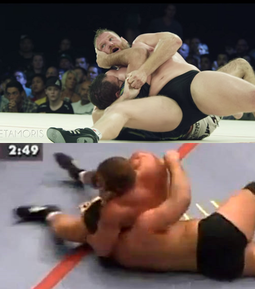 Two former UFC champions using the same submission