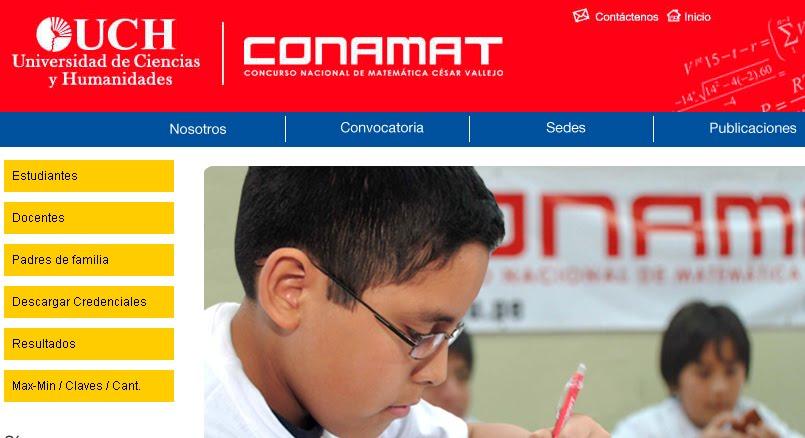 de Resultados del exámen CONAMAT 2012 realizados el 20 y 21 de