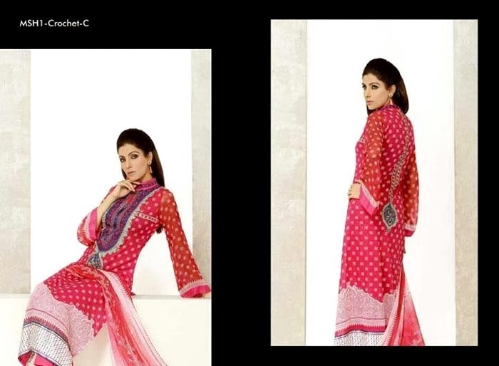 Printed Neck Lawn Suits By Mashaal