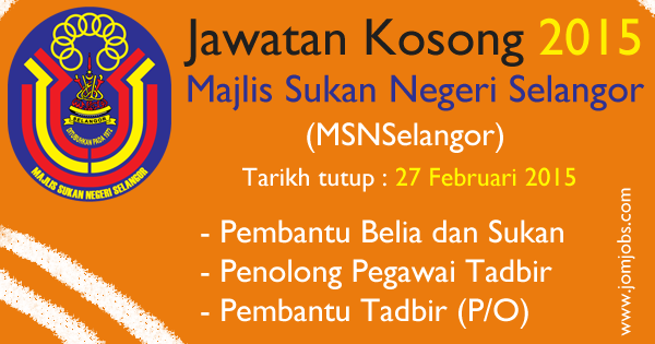 Jawatan Kosong Majlis Sukan Negeri Selangor (MSNSelangor) 2015