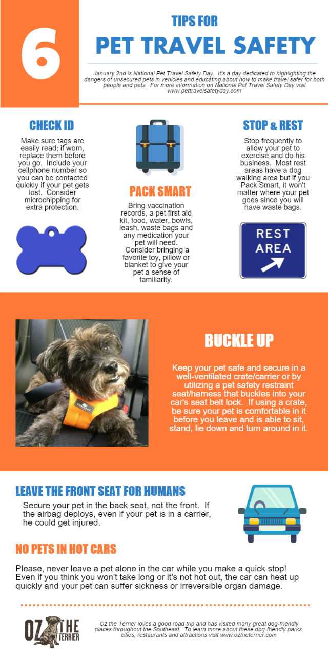 Oz the Terrier's 6 Tips for Pet Travel Safety infographic