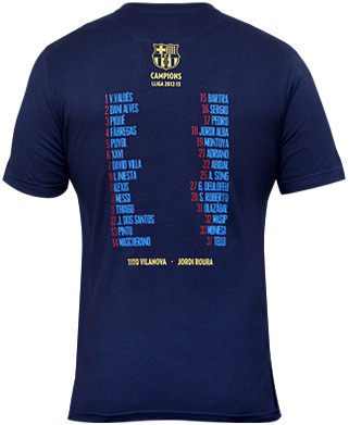 campeones de liga FC Barcelona 2012-2013 camiseta