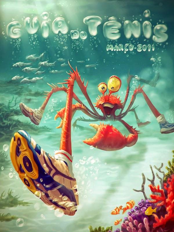 illustration de Tiago Hoisel représentant une araignée de mer avec des baskets