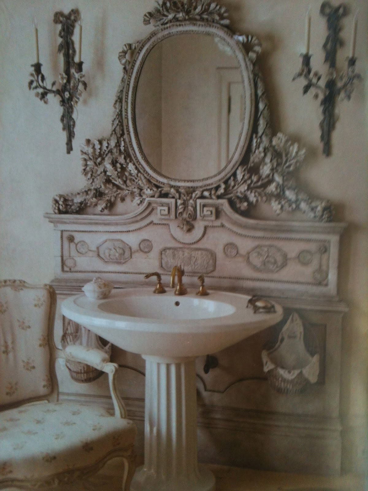 Eye for design architectural elements add old world charm for French shabby chic bathroom ideas