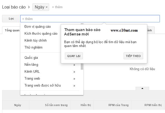 bộ lọc tìm kiếm dữ liệu Google Adsense