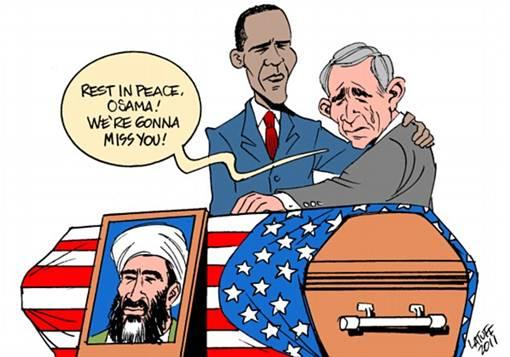 Mengejek George Bush: Osama Bin Laden digambarkan sebagai warga negara Amerika dengan bendera di atas peti mati