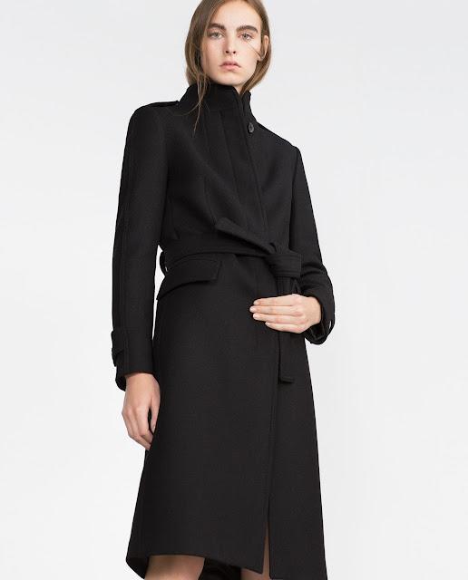 zara black long coat, black high neck coat,