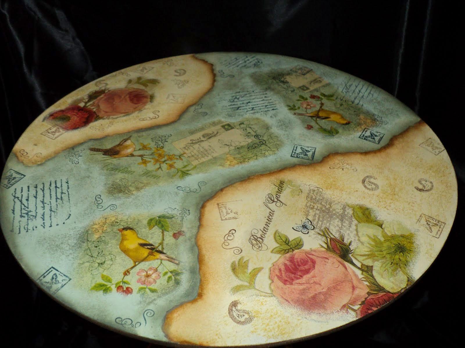 Taller de pintura decorativa mesa plegable con varias - Pintura para decoupage ...