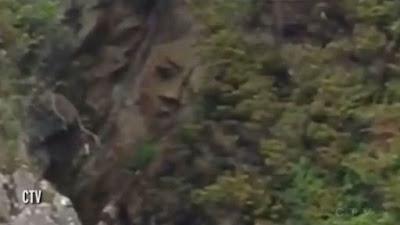 Ukiran Wajah Mahluk Mistis Ditemukan di Tebing Kanada