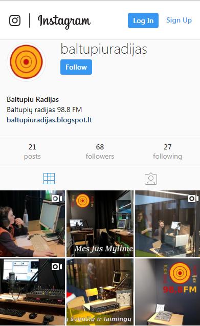 Sekite Baltupių radiją Instagrame