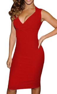 sexy red womens v neck dress