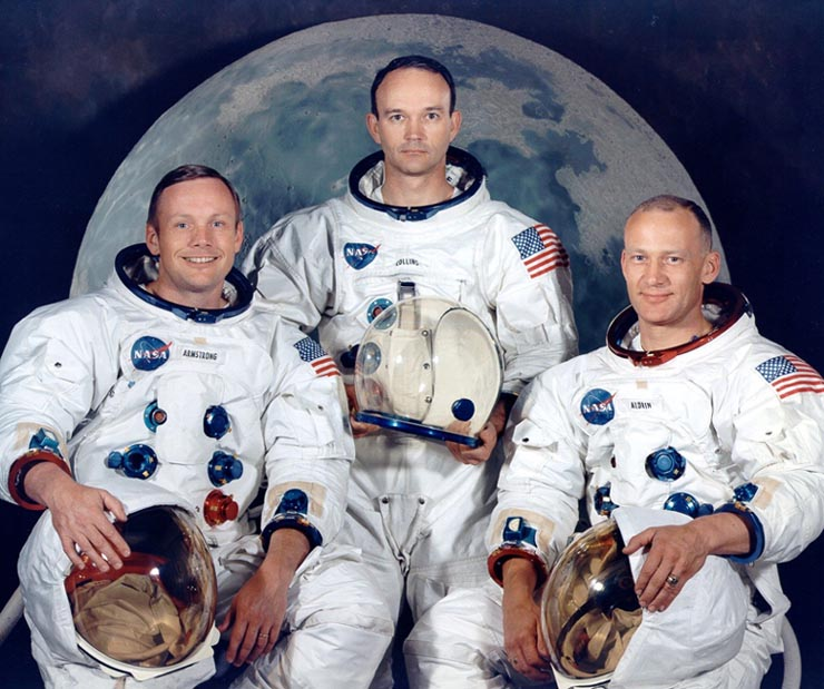 astronot and The Apollo 11 crew portrait. Left to right are Armstrong ...