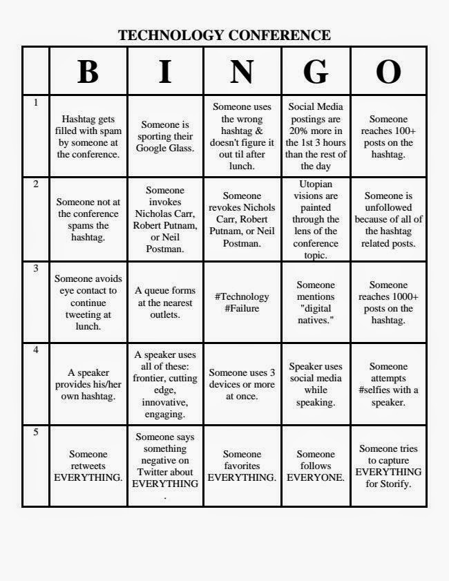 Technology Conference Bingo Sheet