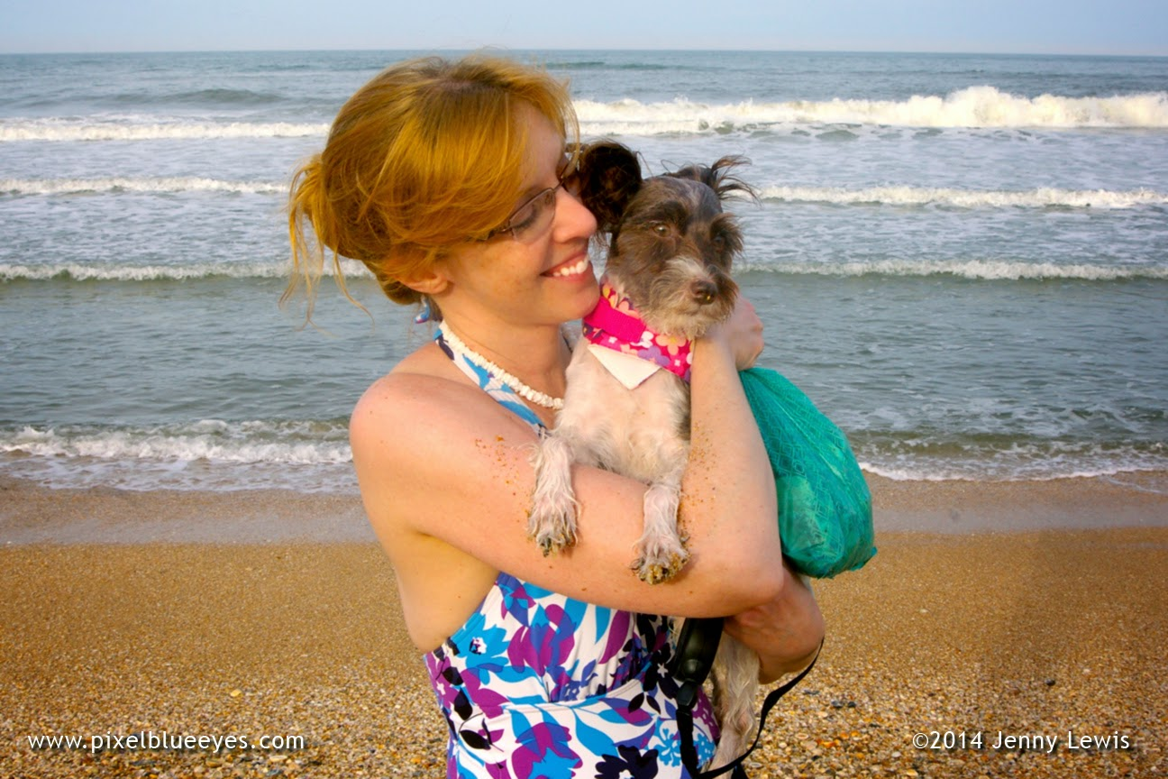 Image of Pixel and her Mommy sharing a moment of love on the beach