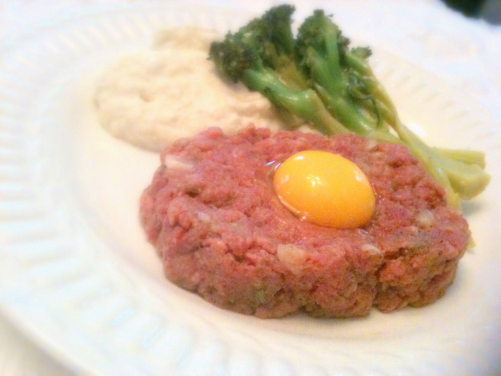 steak tartare, mashed cauliflower, lemon-garlic broccoli