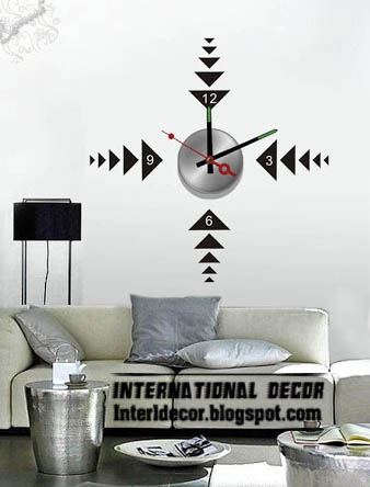 Modern Wall Decal Clock Shapes For Living Room