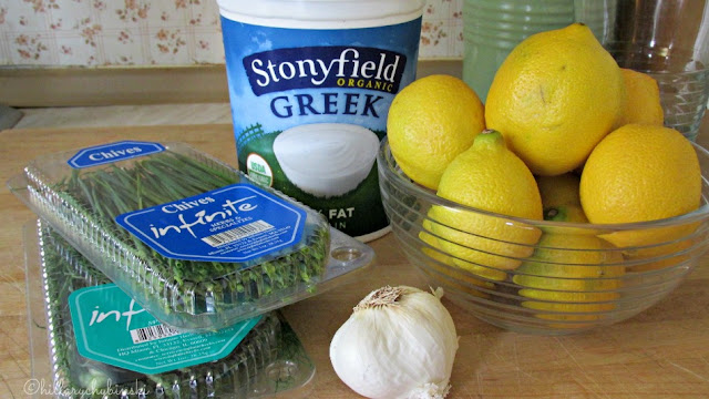 Ingredients for Garlic and Herb Dip made with Stonyfield Greek Yogurt