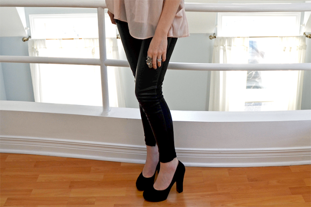 winners tj maxx faux leather leggings from Zara nine west black suede drought pump