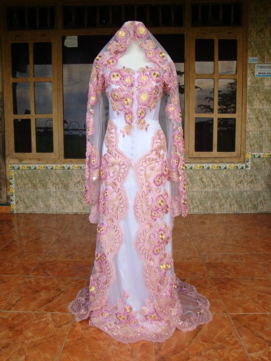 baby pink modern wedding dress kebaya wedding dress