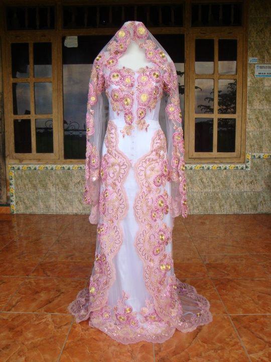 Baby pink modern wedding dress kebaya wedding dress for Baby pink wedding dress