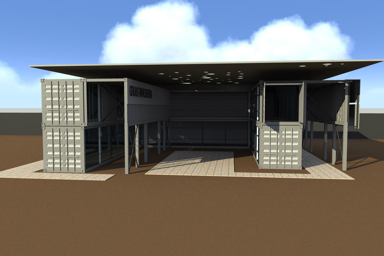 Cristian fernandez arquitecto oficina con contenedores for Contenedores de oficina