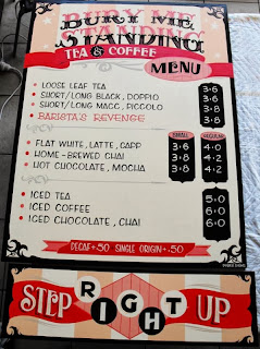 Menu Board & counter traditional hand painted sign for Bury me standing by stu dobell signs sydney australia
