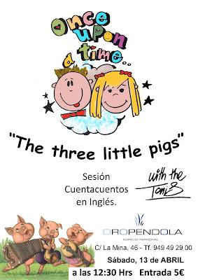 Oropéndola, Storytelling, Guadalajara, cuentacuentos en inglés, cuentos, inglés, The Tonis, Three little pigs, los tres cerditos, actividades infantiles, actividades en inglés, divertirse en Guadalajara, planes con niños, aprender inglés