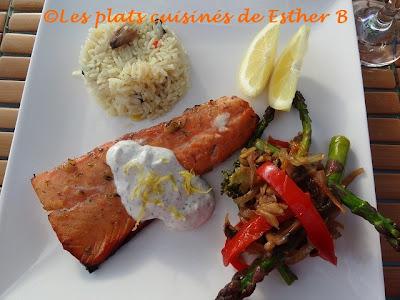 Les plats cuisin s de esther b saumon grill avec sauce au citron et l 39 aneth - Sauce pour saumon grille barbecue ...