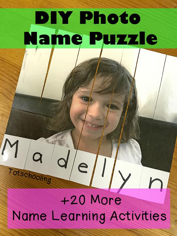 diy photo name puzzle totschooling toddler preschool